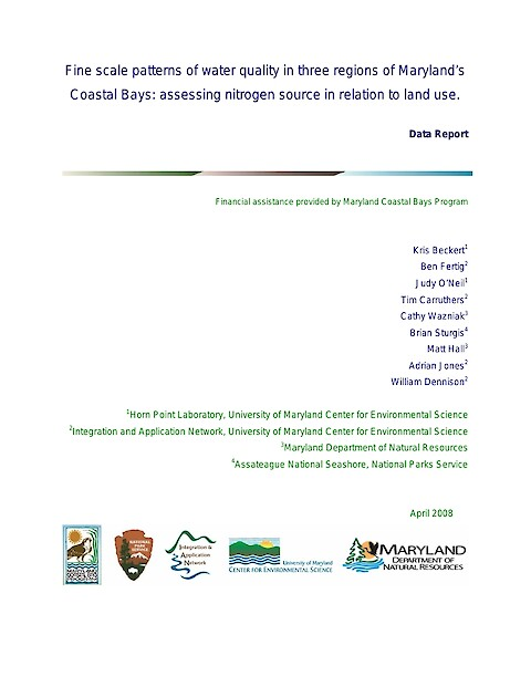 Fine scale patterns of water quality in three regions of Marylands Coastal Bays: assessing nitrogen source in relation to land use (Page 1)