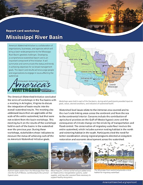 Mississippi River Report Card whole watershed report card workshop newsletter (Page 1)