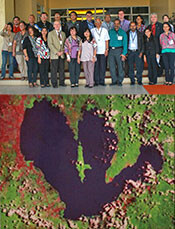 Laguna de Bay Report Card Workshop participants and satellite image of the lake