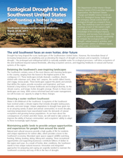 Cover of the Ecological Drought in the Southwest United States newsletter