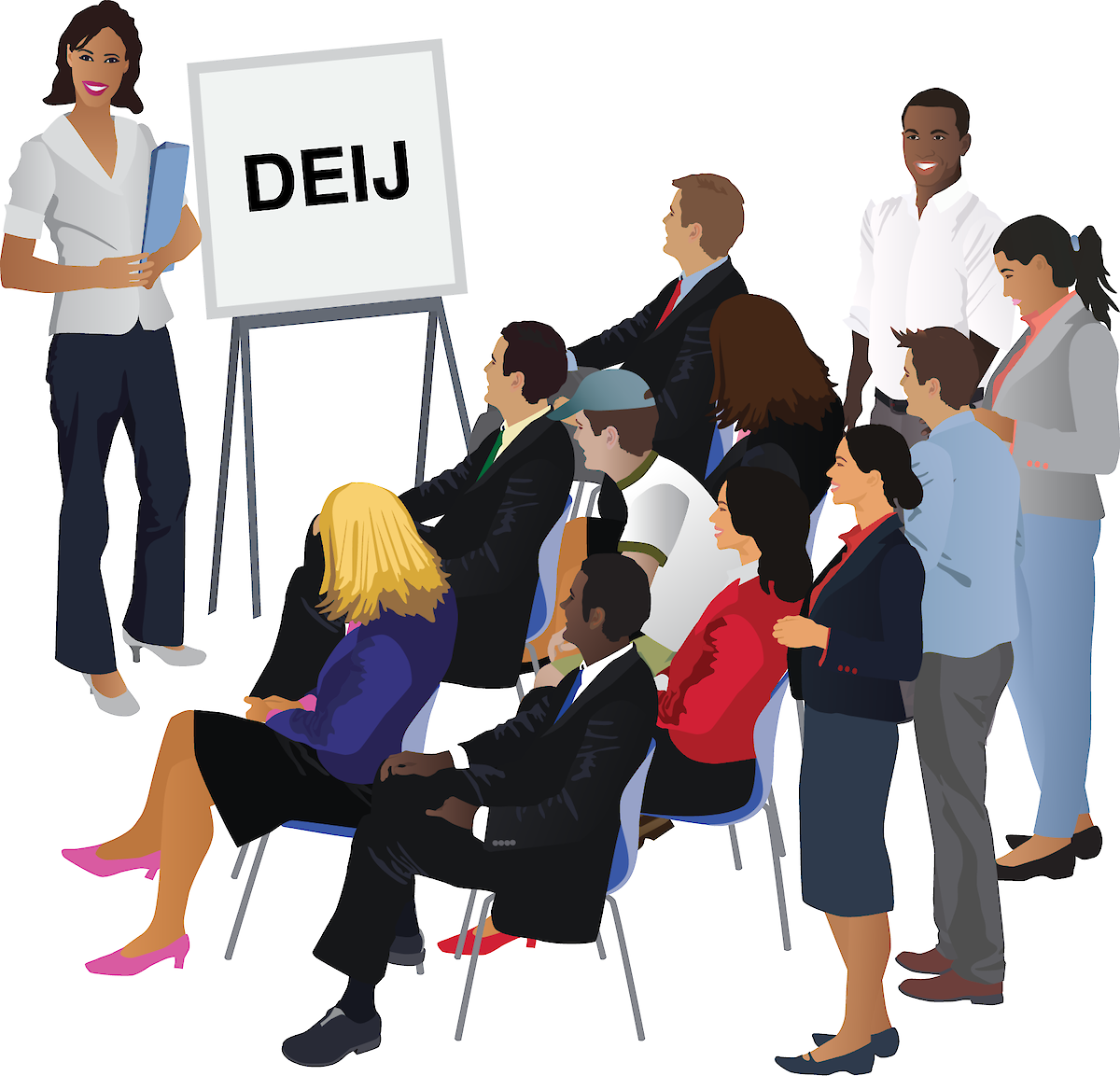 IAN symbol of a DEIJ presentation being delivered to a diverse audience of different backgrounds.