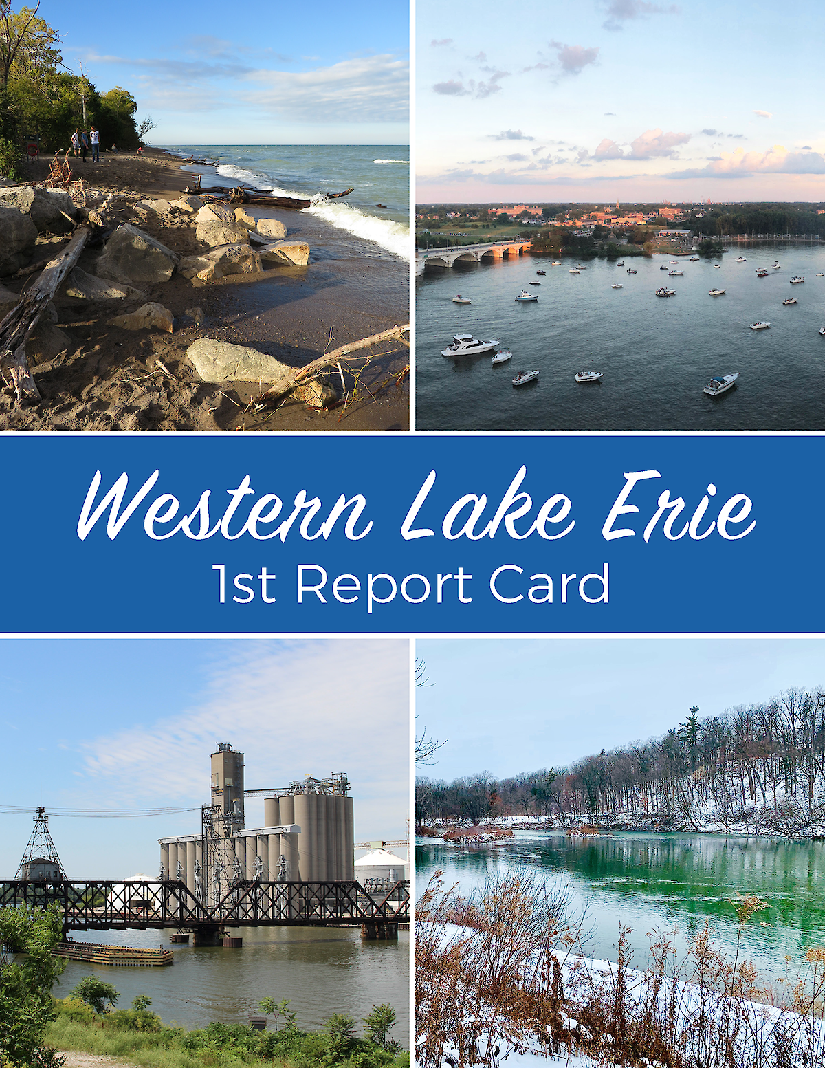 The cover of the Western Lake Erie Report Card with four photos of different parts of the lake and watershed areas.