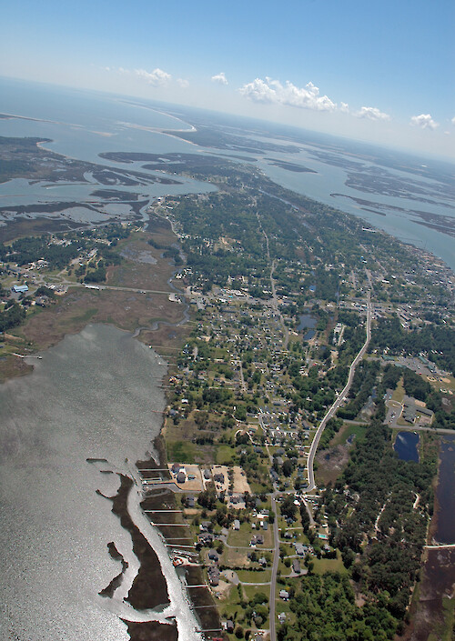 Chincoteague Island, with Chincoteague Inlet in the background.