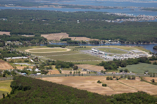 Ocean Downs racetrack on Turville Creek in Isle of Wight Bay watershed. St. Martin River is visible in the background.