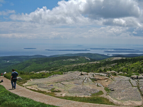 Top of Cadillac Mountain, Acadia National Park, Maine. Facing Atlantic Ocean. Sutton Island, Cranberry Islands in distance.
