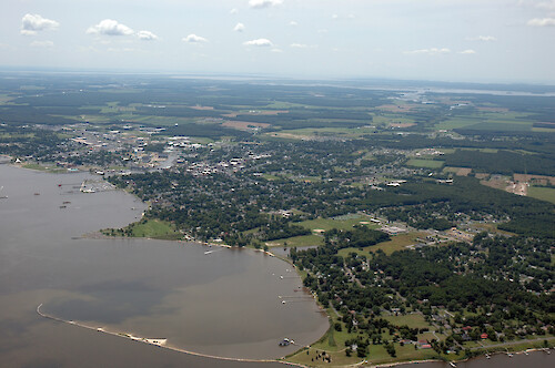 Aerial view of Hambrooks Bay, Cambridge, with downtown in the background.