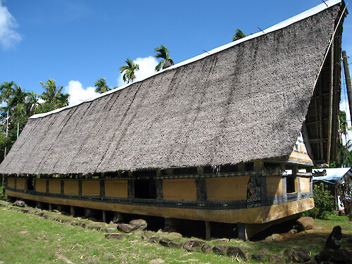 Bais are traditional meeting houses in Palau. The use of symbols communicate stories and legends.