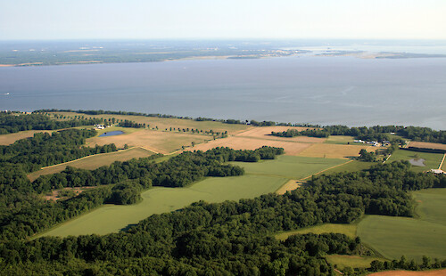 Looking across the upper Chesapeake Bay, towards the Aberdeen Proving Ground Military Reservation