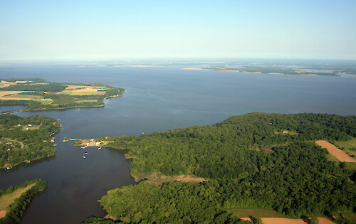 Looking across the mouth of the Sassafras River, across to the other side of Chesapeake Bay