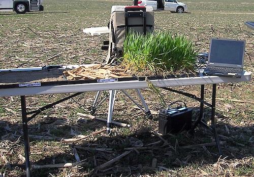 Demo of spectral reflectance, a type of remote sensing used to monitor crop coverage.