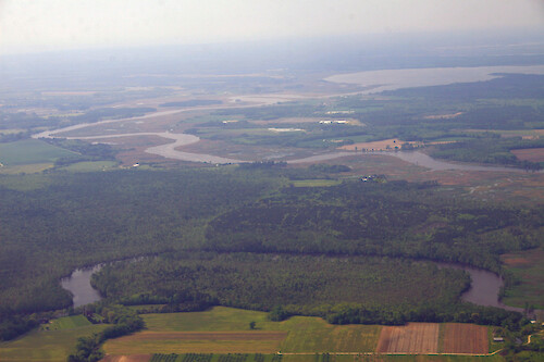 Forests and fields surround the Pocomoke River as it makes its way to the Chesapeake Bay. Here it forms the border between Worcester and Somerset Counties