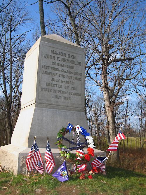 Monument to Major General John F. Reynolds, who was killed in the Battle of Gettysburg on the first day - July 1, 1863.