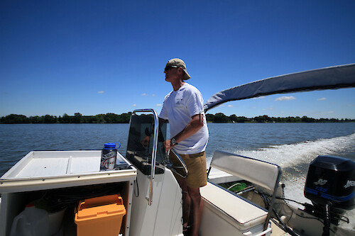 Tom Leigh, Riverkeeper with the Chester River Association, out on a water quality monitoring trip on the Chester River
