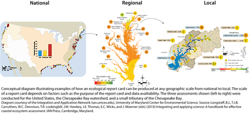 Conceptual diagram illustrating the geographic scale of an environmental report card. The three assessments shown are that of the Chesapeake Bay on a national, regional, and local level.