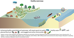 Conceptual diagram illustrating the elements that contribute to a healthy watershed.