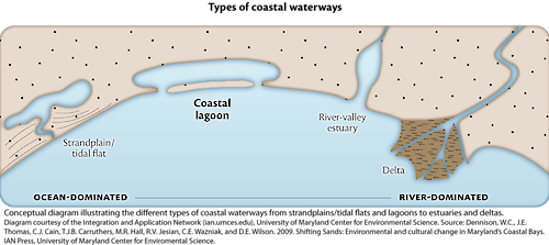 Conceptual diagram illustrating the different types of waterways attached to the coast.