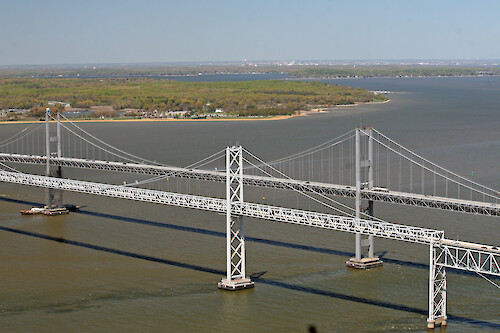 Flyover of the Chesapeake Bay Bridge in Maryland