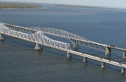 Flyover of the Chesapeake Bridge in Maryland, USA