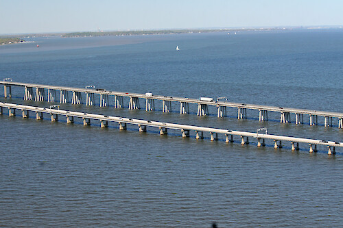 Flyover of the Choptank River Bridge in Maryland, USA