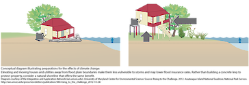 Conceptual diagram illustrating preparations for the effects of climate change: Elevating and moving houses and utilities away from flood plain boundaries make them less vulnerable to storms and may lower flood insurance rates. Rather than building a concrete levy to protect property, consider a natural shoreline that offers the same benefit.