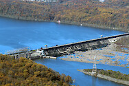 Conowingo Dam is the last Dam on the Susquehanna River before it empties into the Upper Chesapeake Bay. This is a series of photos taken on an overflight of the Dam and surrounding sites during mid-November, 2015. Conowingo Dam photo 1