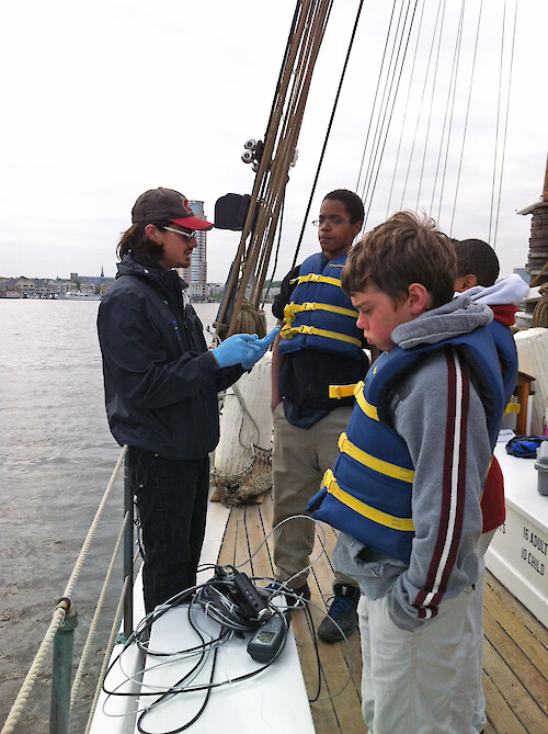 David Flores demonstrates to Baltimore students the use of a water quality probe.