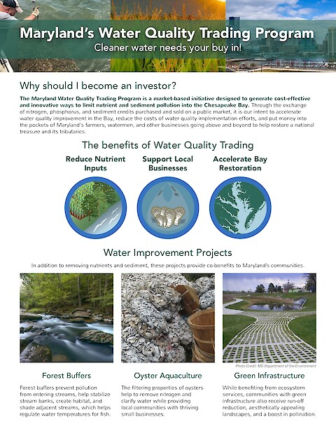 Maryland Department of the Environment Water Quality Trading Program Newsletter (Page 1)