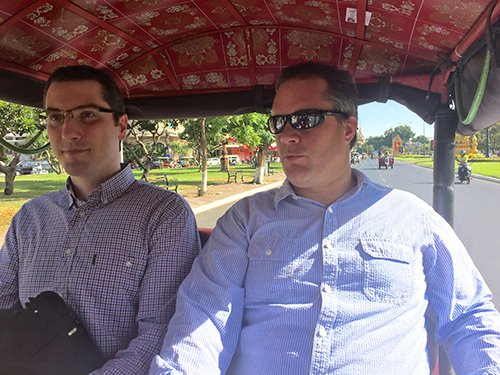 On the road in a tuk-tuk with Andrea Bassi (KnowlEdge Srl) and John Felkner (Florida State University). Credit: Simon Costanzo