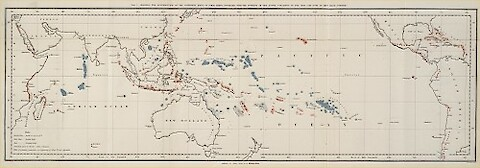 Charles Darwin's 1842 map of coral reef distribution.