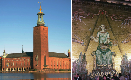 Stockholm City Hall and a mosaic in the Golden Hall.