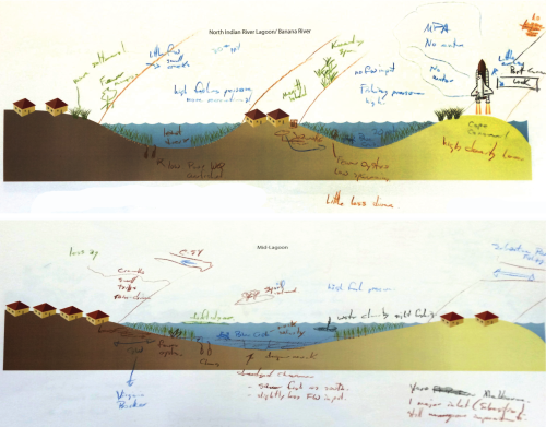 Hand-drawn conceptual diagrams of Northern and Mid Indian River Lagoon.