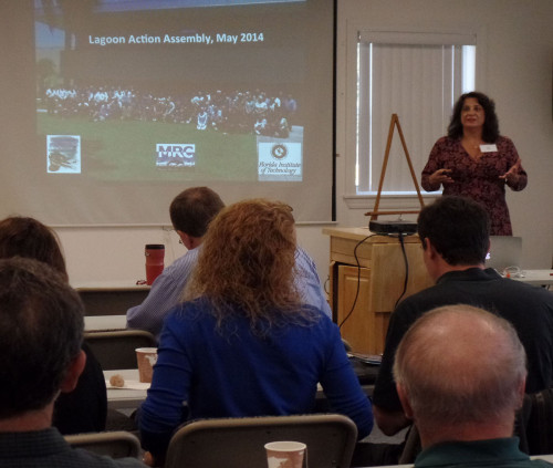 Leesa Souto, Executive Director of the Marine Resource Council, welcomes participants to the report card workshop.