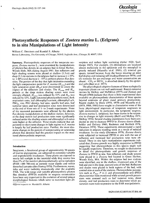 Photosynthetic Responses of Zostera marina L (Eelgrass) to Insitu Manipulations of Light-Intensity (Page 1)