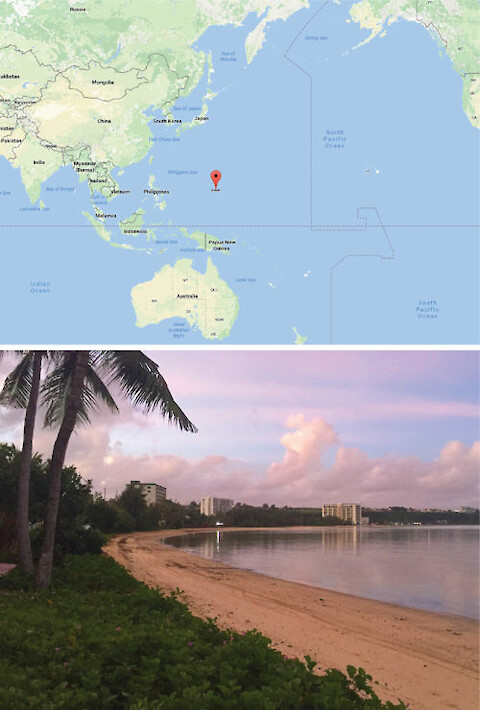 Top: Guam's location. Photo credit: Google Maps. Bottom: hotels dot the shoreline around along the northwest coast of Guam. Photo credit: Alex Fries