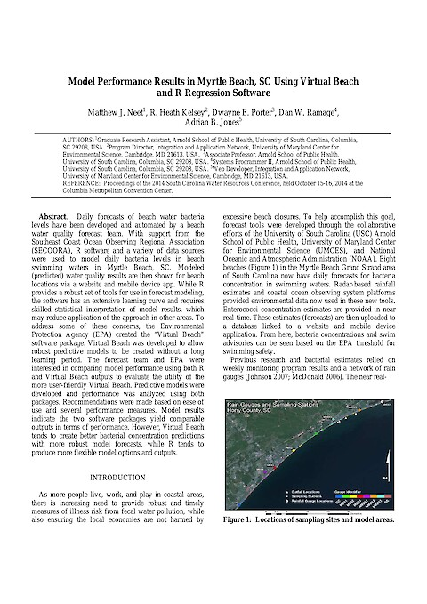 Model Performance Results in Myrtle Beach, SC Using Virtual Beach and R Regression Software (Page 1)