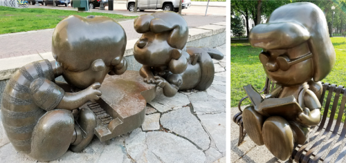 These statues are just an example of the variety of Peanuts sculptures sprinkled throughout St. Paul to honor the cartoonist, Charles M. Schulz. Image credit: Caroline Donovan