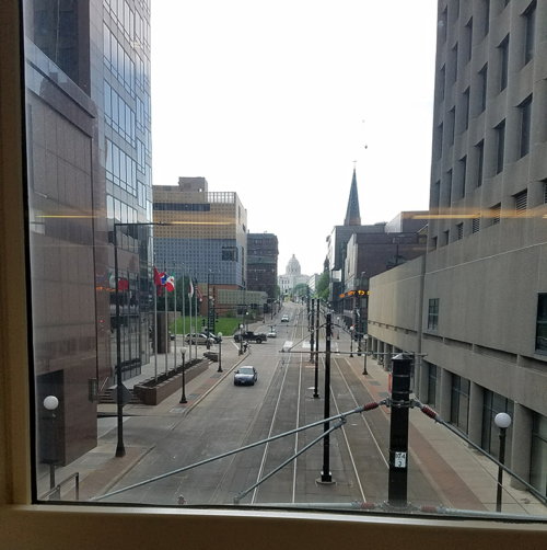 The view from one of the skybridges, looking north to the capitol building. Image credit: Caroline Donovan