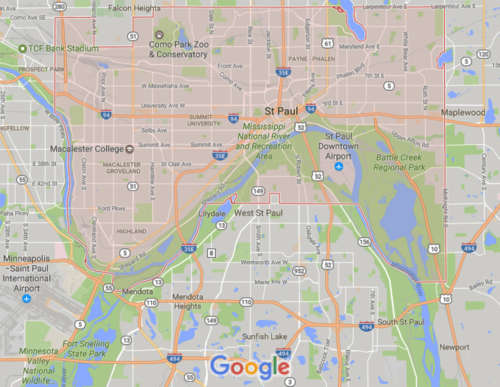 St. Paul wraps around a bend in the Mississippi River. There are bluffs on the northern shore (St. Paul) and across the river, a wide, flat floodplain (West St. Paul). Image credit: google maps