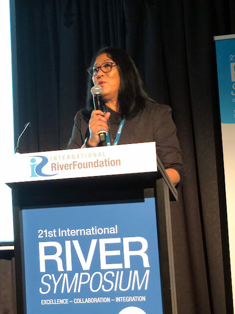 Dr. Eva Abal, CEO of the International Riverfoundation, opening the 21st International Riversymposium. Photo credit: Bill Dennison.