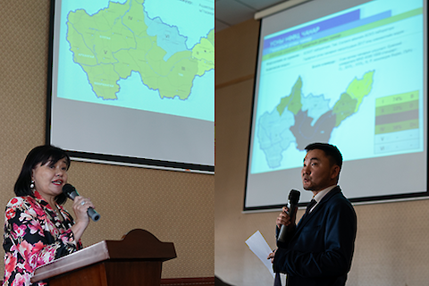 Dr. Dolgorsuren Garmaa (left) and Dr. Purevdorj Surenkhorloo (right) presented in the morning. Photos by Dylan Taillie.