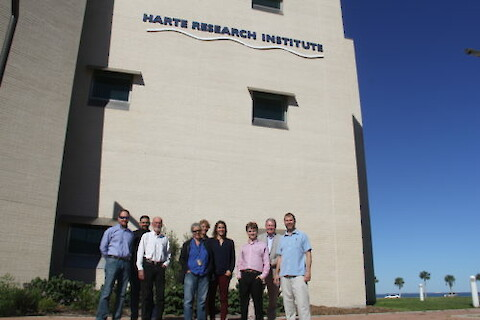 Participants at the Texas Coast Ecosystem Health Report Card meeting at Harte Research Institute, Corpus Christi, Texas. From left to right: Mike Wetz, Quentin Hall, Chris Onuf, Kim Withers, Terry Palmer, Jennifer Pollack, Jamie Currie, Larry McKinney, and Heath Kelsey. Photo credit: Jamie Currie.