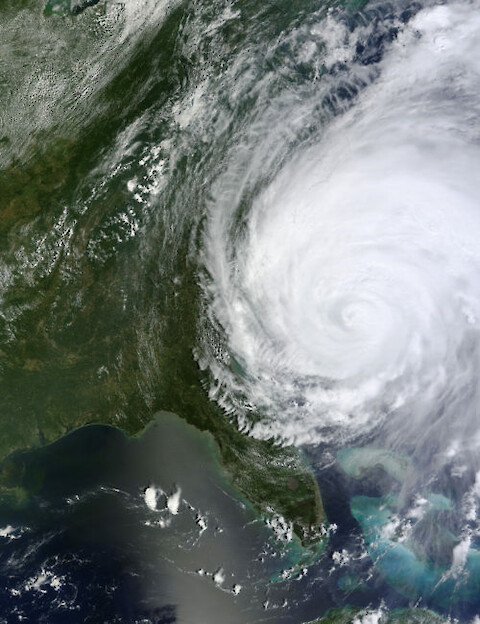 Hurricane Irene approaches the Carolinas, 2011. Photo credit: NASA/GSFC/Jeff Schmaltz/MODIS Land Rapid Response Team.